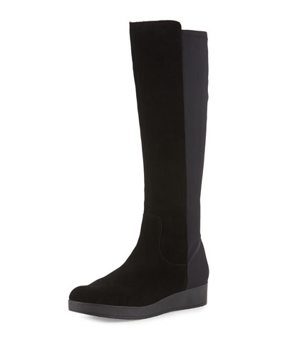 Victori Suede/Crepe Knee Boot, Black
