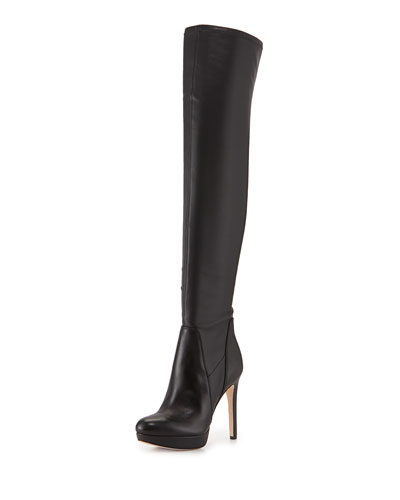 Amber Faux-Leather Over-the-Knee Boot, Black