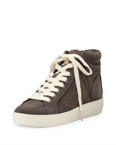 Britt Suede High-Top Sneaker, Steel Gray