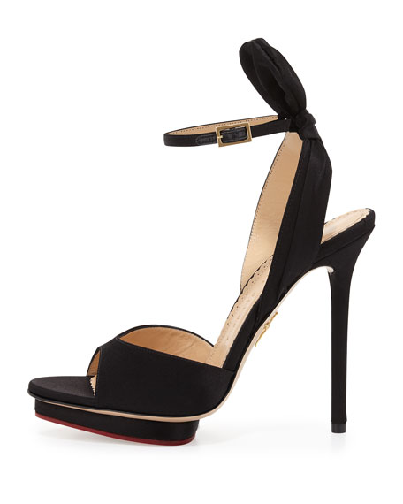 Wallace Bow-Back Satin Evening Sandal, Black