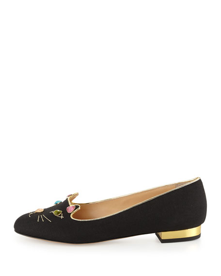 Charlotte Olympia Kitty On The Rocks Linen Loafer Flat, Black