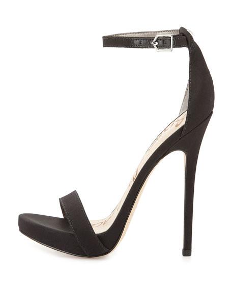 Sam Edelman Eleanor Crepe Ankle-Strap Sandal, Black