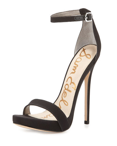 Eleanor Crepe Ankle-Strap Sandal, Black