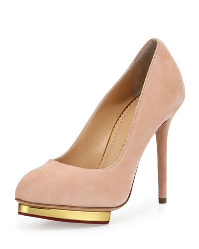 Dotty Suede Platform Pump, Blush