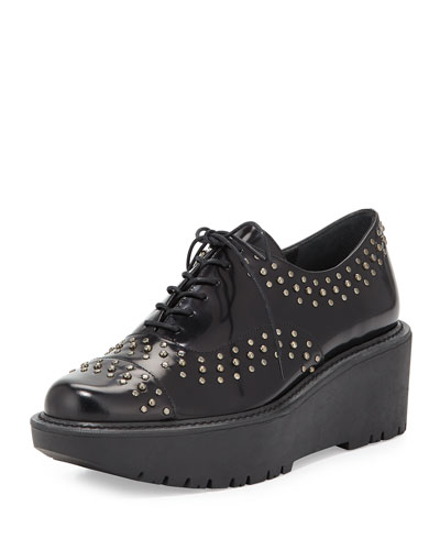 Zealous Studded Platform Loafer, Jet Mirror