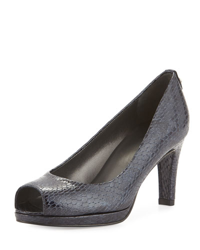 Logoplainfield Snake-Print Pump, Sea Crystal