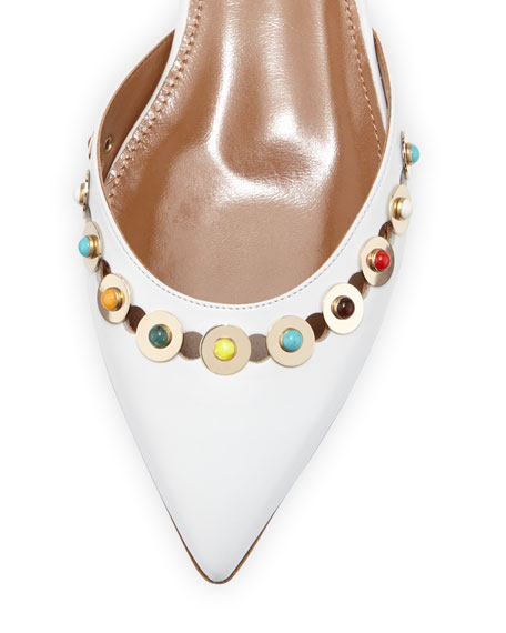 Byzantine Studded Leather Flat, White/Multi