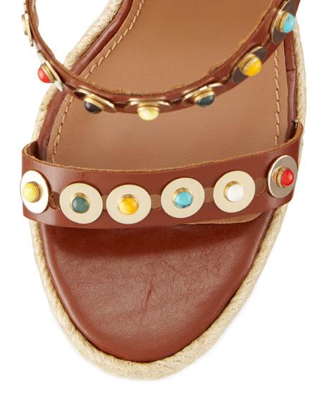 Byzantine Studded Wedge Espadrille Sandal, Luggage