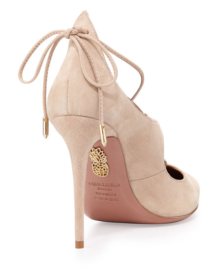 Christy Suede Lace-Up Pump, Nude