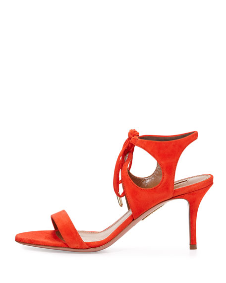 Colette Suede 75mm Sandal, Clementine