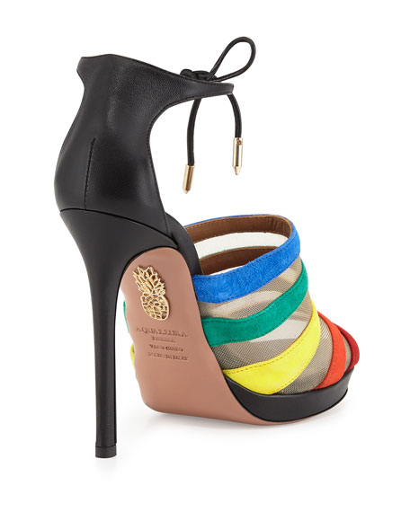 Graphic Striped Suede Sandal, Rainbow/Black