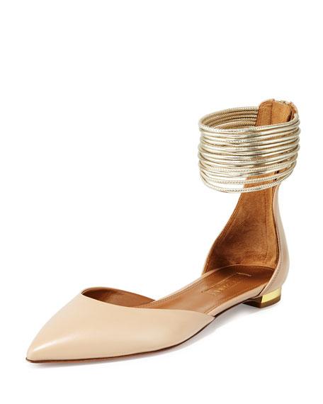 AQUAZZURA Hello Lover Ankle-Strap Flat, Nude
