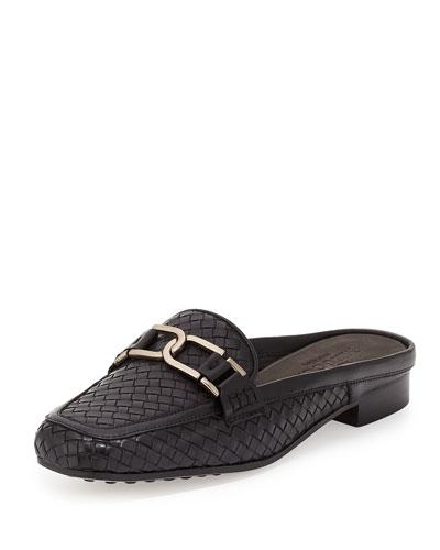 Margret Woven Leather Mule, Black