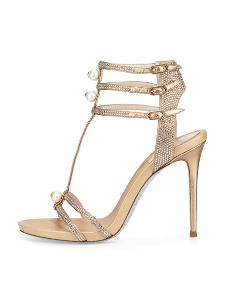 Pearly T-Strap Leather Sandal, Beige