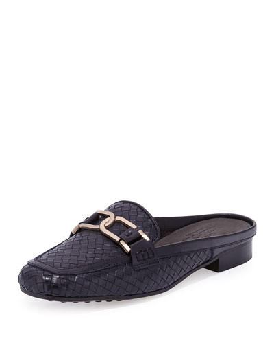 Margret Woven Leather Mule, Navy