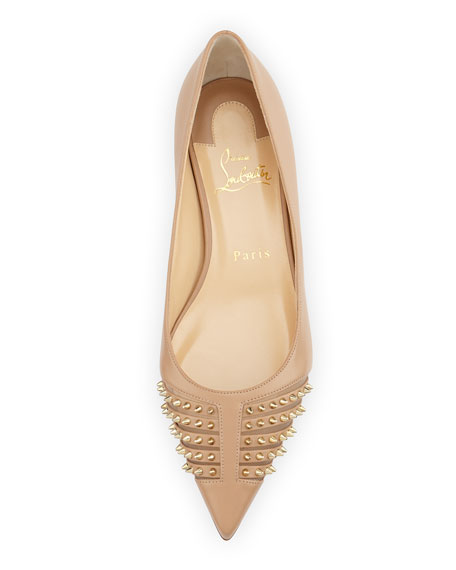 Christian Louboutin Baretta Studded Red Sole Skimmer Flat, Nude
