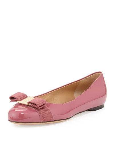 Varina Patent Bow Ballerina Flat, Griotte