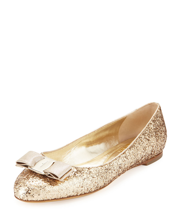 8598764d1172 Salvatore Ferragamo Varina Glittered Bow Ballerina Flat, Gold (Oro ...