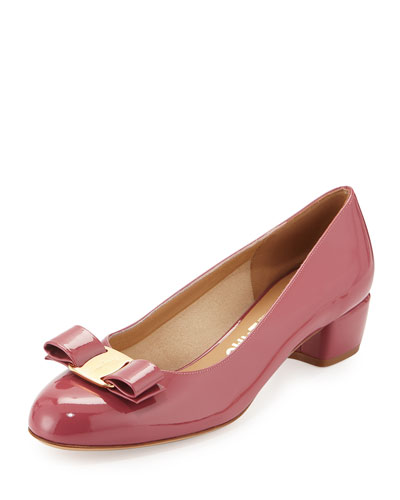 Vara Patent Low-Heel Bow Pump, Griotte