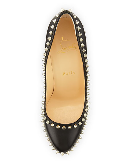 Dora Spike Leather Red Sole Pump, Black/Silver