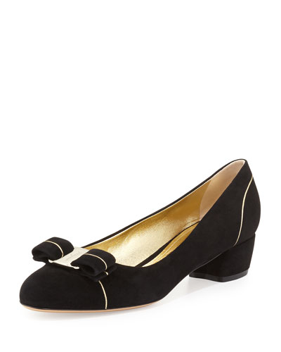 Vara Suede Low-Heel Bow Pump, Nero