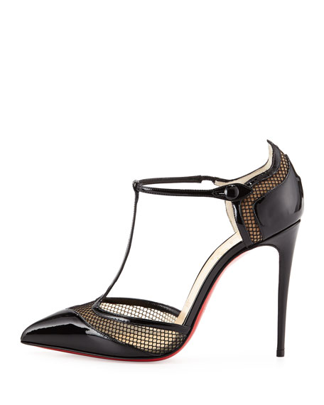 Miss Early Patent 100mm Red Sole Pump, Black