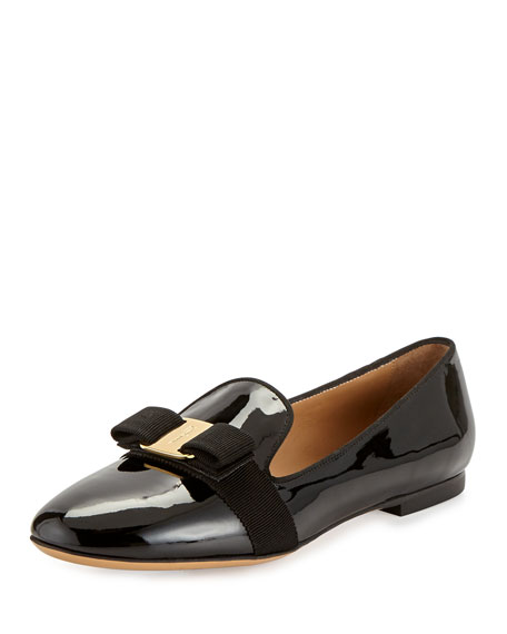 Salvatore Ferragamo Scotty Patent Bow Loafer, Black (Nero)