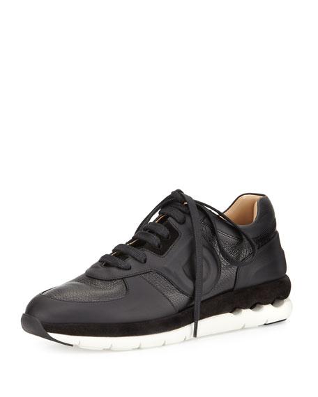 Salvatore Ferragamo Morgan Pebbled Leather Sneaker, Black (Nero)