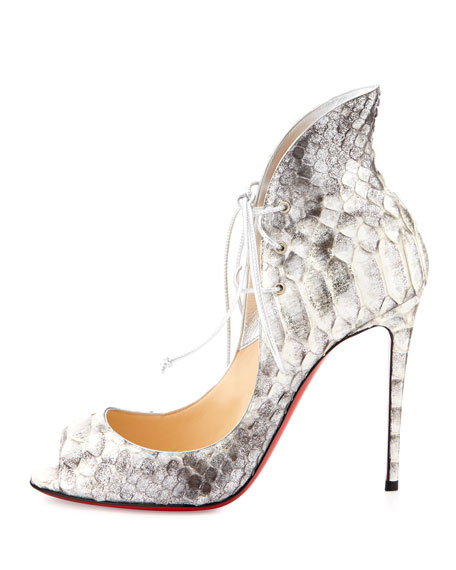 Christian Louboutin Mega Vamp Python Lace-Up Red Sole Pump, Gray
