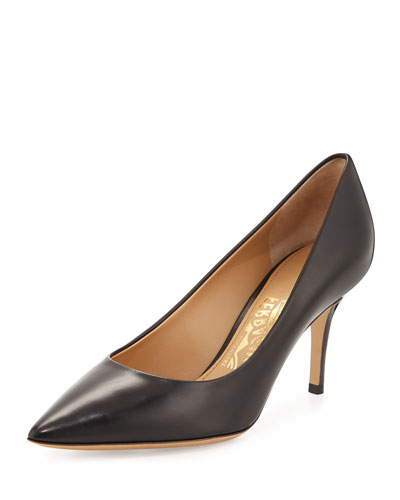 Susi Leather Point-Toe Pump, Black (Nero)