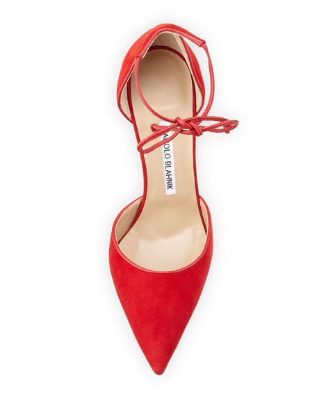 Leyan Suede Ankle-Tie d'Orsay Pump, Red