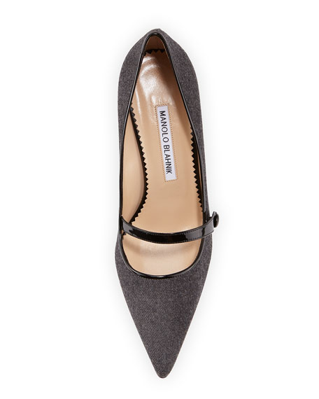 Mladar Flannel Mid-Heel Mary Jane Pump, Gray/Black
