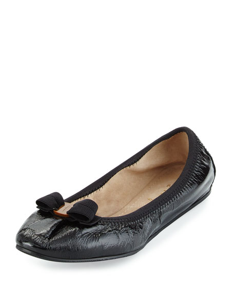 Salvatore Ferragamo My Joy Patent Bow Flat, Black