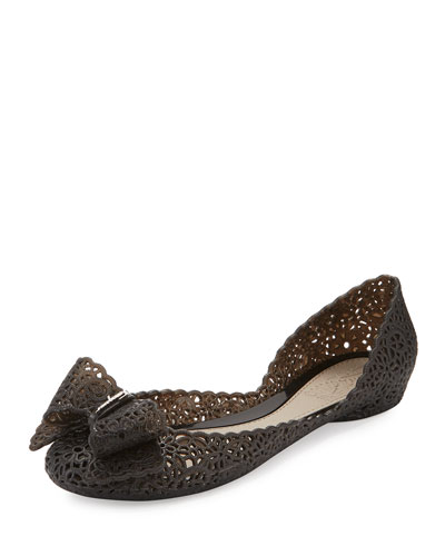 Nilly Laser-Cut PVC d'Orsay Flat, Black (Nero)