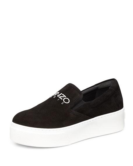 Platform Suede Skate Sneaker, Noir