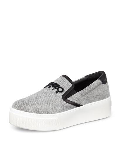 Platform Denim Skate Sneaker, Denim Aqua