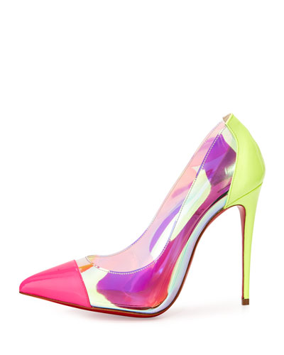 c44fa8ffe26 Christian Louboutin Un Bout 100 Neon Pink Patent and PVC Pumps. This is  100mm