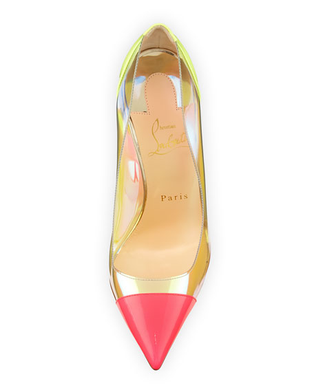 Debout Patent/PVC Red Sole Pump, Multicolor