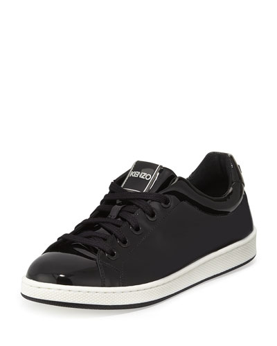 Patent Low-Top Sneaker, Black