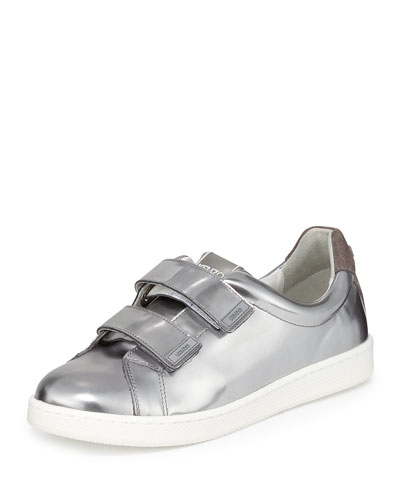 Mirror Grip-Strap Leather Sneaker, Argent