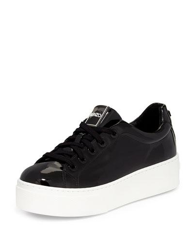 Platform Patent Lace-Up Sneaker, Noir