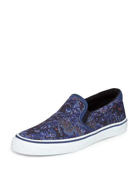 Kenzo Flying Tiger Canvas Slip-On Sneaker, Bleu Canard