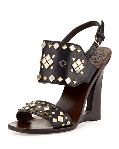 Kingsbridge Studded Open-Wedge Sandal, Tory Navy