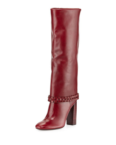 Sarava Leather Knee Boot, Red Agate
