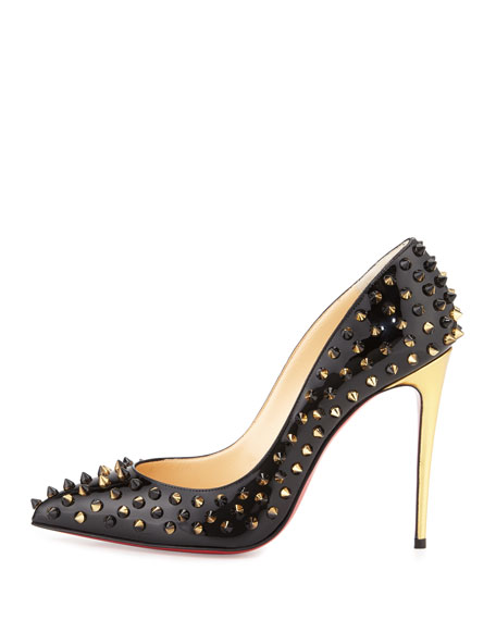 Follies Spiked Patent Red Sole Pump, Black/Demi Lune