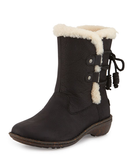 UGG Australia UGG Akadia Back-Laced Fur-Lined Boot, Black