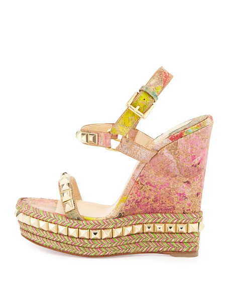 Cataclou Cork Wedge Red Sole Sandal, Multi/Light Gold