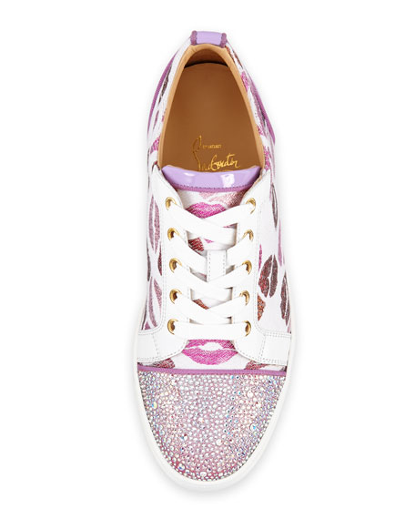 Gondolastrass Lip-Print Low-Top Sneaker, White/Pink