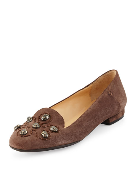 Sesto Meucci Kaya Stud Ornament Loafer, Dark Taupe