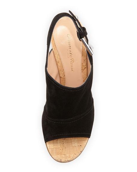 Marcy Suede Slingback Sandal, Black